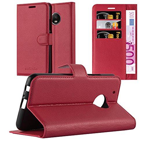 Cadorabo Hülle für Motorola Moto G5 Plus in Karmin ROT - Handyhülle mit Magnetverschluss, Standfunktion & Kartenfach - Hülle Cover Schutzhülle Etui Tasche Book Klapp Style