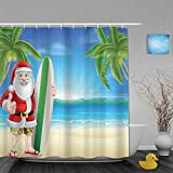 NISENASU Imperméable Rideau de Douche,Père Noël avec Planche de Surf de Noël,ImperméableSalle de Bain avec Crochets,180 x 180 cm