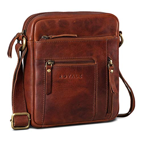 ROYALZ Mens Shoulder Bag Small Leather Cross Body Messanger-Bag Genuine Leather Casual Vintage Style Men Travel, Color:Roma Cognac Brown