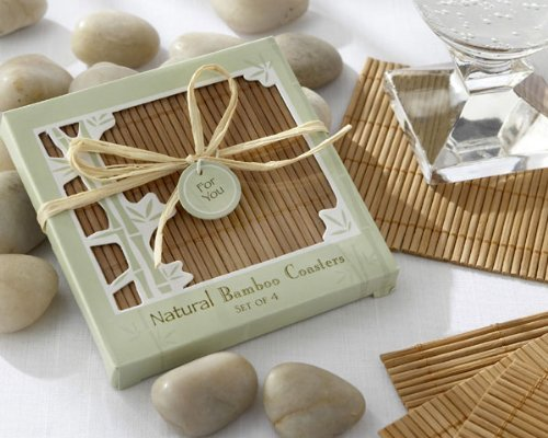 Natural Bamboo Eco-Friendly Coaster Favors -48 count