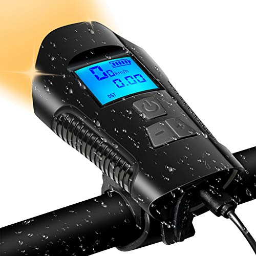 Bicycle Light Set,IP65 Night Riding Bike Light Speedometer with USB Rechargeable,Super Bright Front Headlight and Rear LED Bicycle Light,4 Lighting Modes,Suitable for All Mountain and Road Bikes Bike