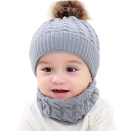 Unisex Linda Sombrero y Bufanda de Punto para Bebé Recién Nacido Juego de 2 Piezas Gorra con Pompon Gorro de Invierno para Bebé Niños Niñas