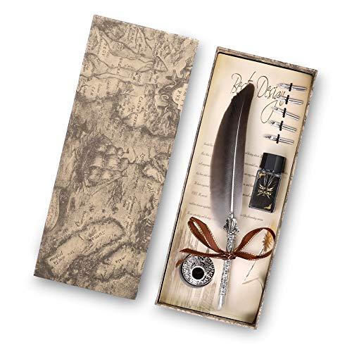 Juego de bolígrafos de caligrafía vintage con 5 puntas de repuesto y botella de tinta Bolígrafo de caligrafía de cobre antiguo sumergido a mano para regalo y decoración de escritorio antiguo(Negro)