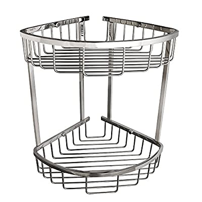 Alise Polished Chrome Corner Shower Caddy Wall Mount with 2 Tier Baskets