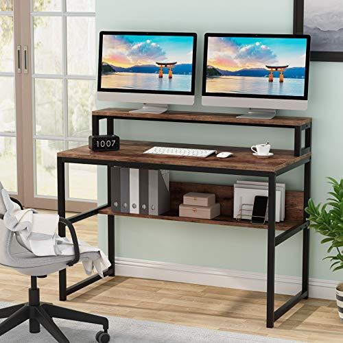 Tribesigns Biurko komputerowe, nowoczesny prosty design komputer laptop stół do nauki stół do pisania z stojakiem na monitor i półką do przechowywania, przemysłowe drewno i metalowa stacja robocza do małej przestrzeni domu biura