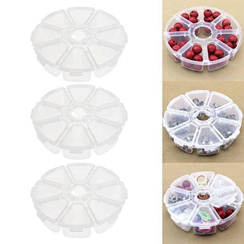 DETEWO 3 x Mini-Aufbewahrungsbox mit 8 Fächern, transparent, Kunststoff, rund, für Schmuck, Zubehör, Perlen, Sortimentskasten mit Deckel