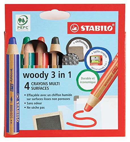 Crayon multi-surfaces lisses - STABILO woody 3in1 - Etui carton x 4 crayons + 1 taille crayon + 1 chiffonnette