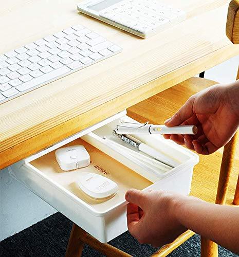 AnyWayFun Under Desk Drawer, Attachable Desk Drawer, Adhesive Drawer Pencil Organizer for Office/Home/School/Kitchen(White)