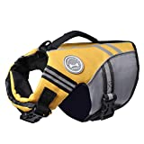 Vivaglory New Sports Style Ripstop Dog Life Jacket with Superior Buoyancy & Rescue Handle, Yellow, XS