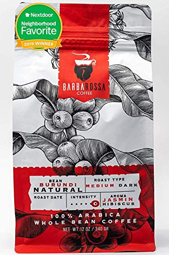 Barbarossa Burundi Coffee -Natural Premium Quality Handcrafted - Medium Dark Artisan Roasted - Low Acidity Jasmin Hibiscus Aroma Whole Beans | 2019 Neighborhood Favorite Award