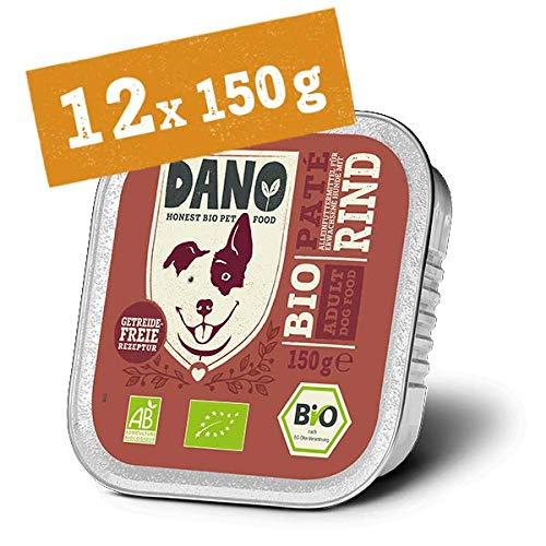 DANO Bio Pastete für Hunde mit Rind - 12 x 150 gr - für Hunde Aller Rassen und Altersgruppen - Getreidefrei - Frei von Künstlichen Zusatzstoffen - mit Bio Huhn und Spirulina