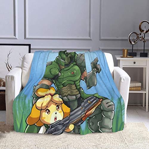 "Hanayo Doom-Guy and Isa-Belle Flannel Fleece Throw Blanket Soft Cozy Lightweight Fluffy Microfiber Blanket All Season Fuzzy Plush Throw Blanket for Couch Bed Sofa 60""X50"""