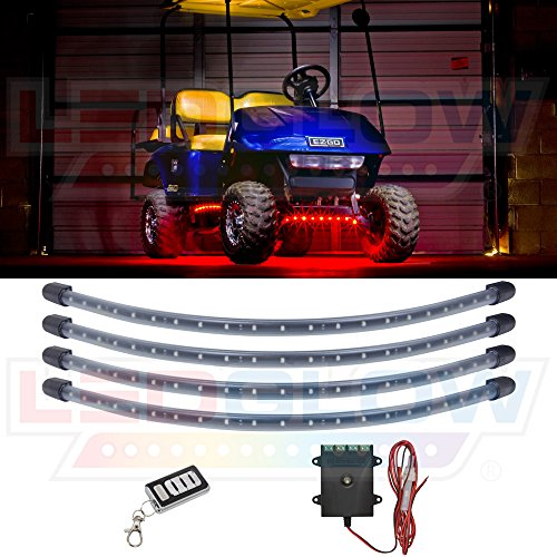 LEDGlow 4pc Red LED Golf Cart Underbody Underglow Accent Neon Light Kit for EZGO Yamaha Club Car - Water Resistant Flexible Tubes - Includes Control Box & Wireless Remote
