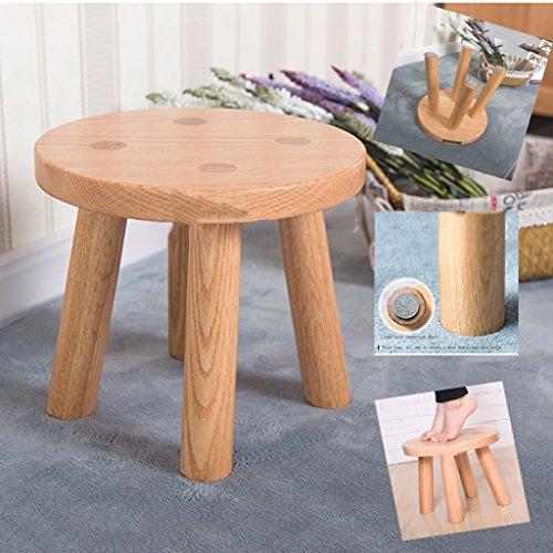 Tabouret en bois massif pur enfant adulte maison chaussures tabouret tabouret de table basse (Color : Beige, Size : 26 * 26 * 23cm)
