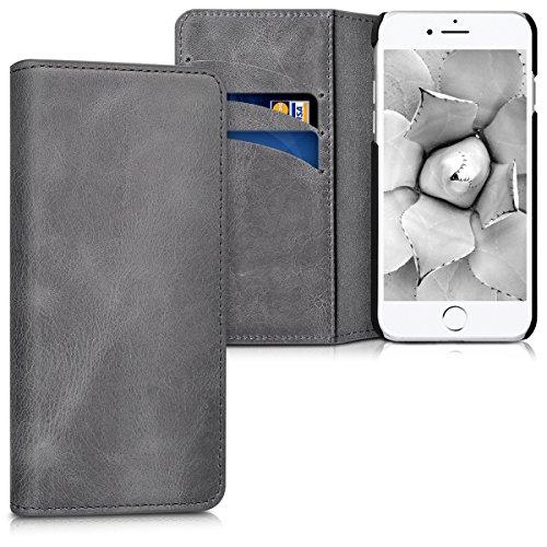 kalibri Funda para Apple iPhone 7/8 / SE (2020) - Carcasa de Cuero con Soporte y Tarjetero - Cover con Tapa Gris