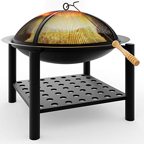 Photo of Deuba Fire Bowl Pit Basket Stainless Steel BBQ Garden Grill Brazier Heating Wood Charcoal 55x50cm Lid Hook