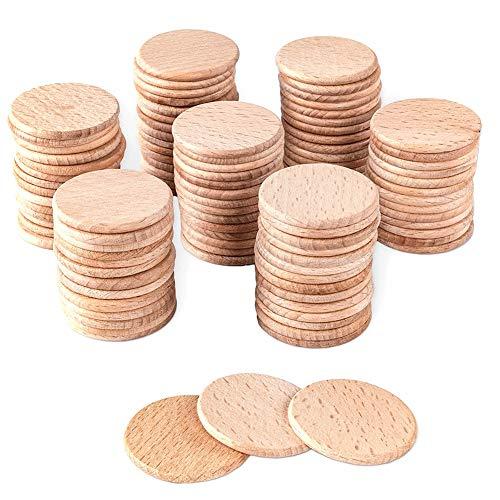 JISKGH 100 Piezas Redondas de Chips de CíRculos de Madera Sin Terminar para Proyectos de Manualidades, Piezas de Juegos de Mesa, Adornos