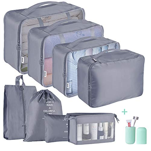 Packing Cubes for Suitcase,Geediar 9 PCS Travel Luggage Packing Organizers Waterproof Travel Essentials Bag Clothes Shoes Cosmetics Toiletries Storage Bags(a-Grey)
