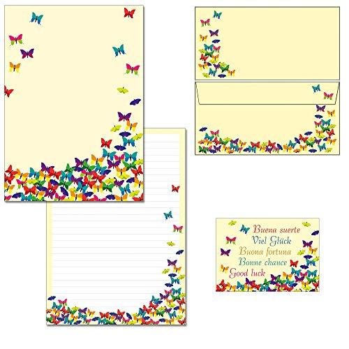 Briefblock-Mappe viele bunte Schmetterlinge - 1 Schreibblock DIN A4 + 20 Briefumschläge + 2 Postkarten