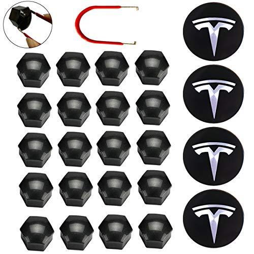 KENPENRI Aero Wheel Cap Kit for Tesla 3, S & X - 4 x Aluminum Alloy Center Cap Set & 20 Wheel Lug Nut Cover - Black & Silver