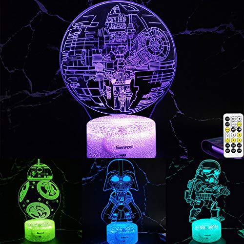 Generies Senros Star Wars Night Light for Kids,4 Patterns+7 Color Changing,Timer,Dimmable,Touch&Remote Control,Star Wars Toys Birthday Gifts for Boys Girls & Star Wars Fans