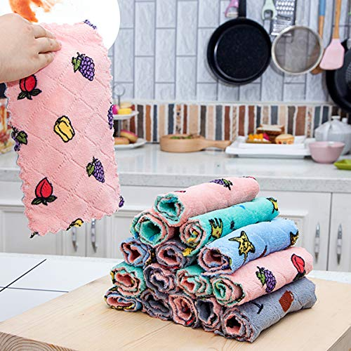 5 Pack Kitchen Cloth Dish Cloth, High-Grade Dish Cloth, High-Absorption Printed Coral Fleece Dish Cloth, Quick-Drying Without Oil Washing, Reusable