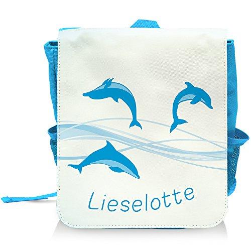 Kinder-Rucksack mit Namen Lieselotte und schönem Delfin-Motiv für Mädchen