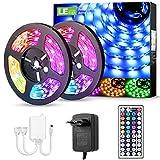 LE Tira Luz RGB 10M, Tira LED 300 SMD 5050, Multicolor y Regulable, Tira Luces LED RGB con 20 Colores 8 Modos, Control Remoto de 44 Teclas 12V 5A, Tiras LED TV para Decoración, Paquete de 2