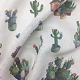 Tela por metros de cortina - Visillo estampado digital - 20% lino, 80% poliéster - Ancho 300 cm - Largo a elección de 50 en 50 cm | Cactus - Multicolor, blanco