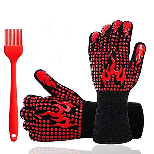 Generic0 Grillhandschuhe,Ofenhandschuhe BBQ Kochenhandschuhe Backhandschuhe Hitzefeste Handschuhe Kaminhandschuhe bis zu 800°C 1 Paar Silikon rutschfeste + Bürste(Rot)
