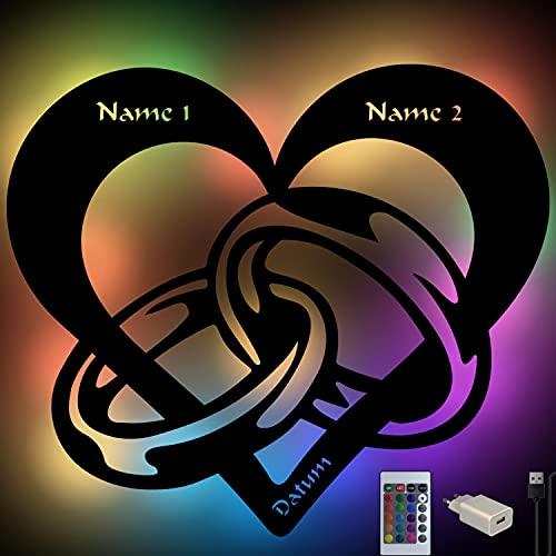 USB Farbwechsel Herz mit Ringen Geschenke Liebe zur Hochzeit Standesamt Brautpaar, Verlobung, Geburtstag, Jahrestag für Frau Mann Freund Freundin Paare Männer Frauen personalisiert