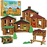 Smart Builder Wood Cabin Logs Building Toys - Master 400 Piece Log Set with 14 New 2020 Bonus Building Accessories - Windows, Doors, Trees and Grass Real Wood Blocks for Girls and Boys