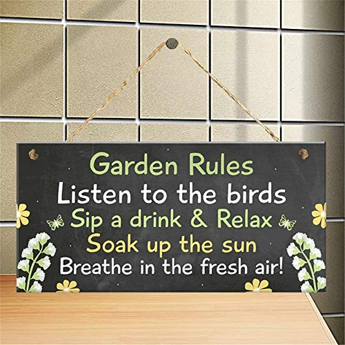 Sfuzwg Garden Rules Hanging Novelty Garden Plaque shed Funny Gift for Garden Lovers