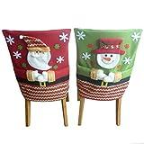 Ansenesna Stuhlhussen Weihnachten Dekoration Stretch Husse Weihnachtsmann Snowman Deko Für