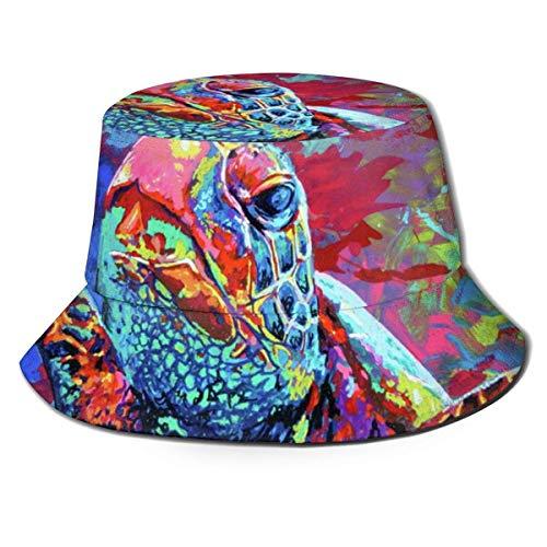 huibe Bucket Hat Packable Reversible Sea Turtle Maria Arango Print Bucket Sun Hat Summer Fisherman Cap para Hombres Mujeres Negro