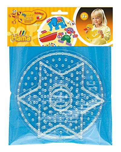 Hama 8265 Stiftplatten für Maxi Perlen, Stern und Kreis, ca. 15,5 cm, 2er Set, Mehrfarbig