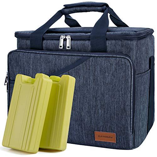 Canway Faltbar Thermotasche Picknicktaschen Cooler bag Kühltasche 40-Dosen Große Isoliertasche mit 2 Eisdosen für Reisen Outdoor Wandern Grillen Party Blau