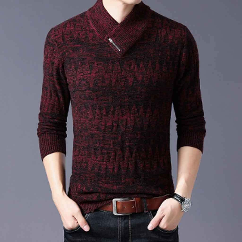 ZYING Sweaters Man Pullovers Slim Fit Jumpers Knitwear Woolen Autumn Korean Style Casual Mens Clothes (Color : XL Code)