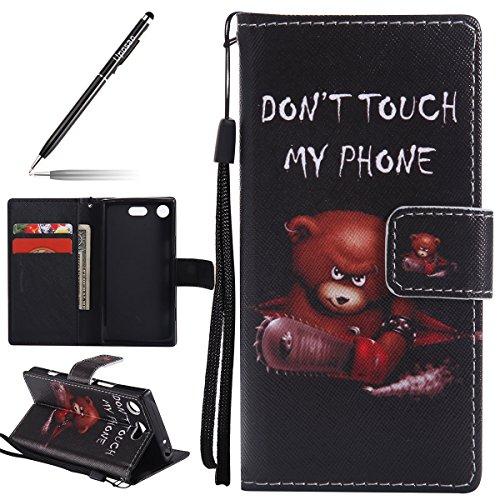 Uposao Funda para Sony Xperia XZ1 Compact, funda tipo cartera, de piel premium con pintura modelo PU Leather Wallet Case para Sony Xperia XZ1 Compact-(Oso)