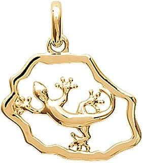 Pendentif plaqu/é Or Salamandre Gecko pav/é en Zirconium Blanc Obrillant-Bijoux