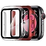 ZXK CO [2 Pezzi Cover per Apple Watch 44mm Series SE/4/5/6, Custodia PC + Pellicola Protettiva AntiGraffio HD, Copertura Completa Protezione Schermo Vetro Temperato Integrata (Trasparente + Rosso)