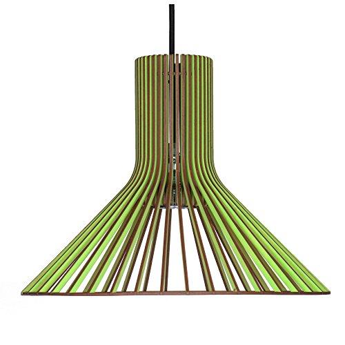Suspension tolva en bois – Plafonnier design moderne – 8 couleurs disponibles -, vert pomme, E27 60.0 wattsW