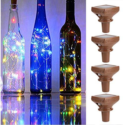 Ponacat 4 piezas luces solares 2 m 20led forma de corcho mini cadena luz botella