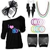 80s Outfits Costume Accessories for Women - I Love 80's Print Off Shoulder T-Shirt,Lace Headband Necklace Bracelet Gloves for 80s Costumes,Black,XL