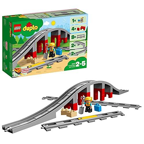 LEGO 10872 Duplo Town Puente y vías ferroviarias, Juguete de Construcción para...