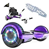 FUNDOT Hoverboards avec siège,Hoverboards avec hoverkart, Go Kart 6,5 Pouces, Hoverboards avec de Belles lumières LED, Hoverboards avec Haut-Parleur Bluetooth, Cadeau pour Enfants
