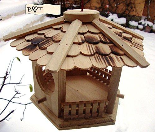 BTV Vogelhaus, Futterhaus, Holz massiv, Natur-Vogelhäuser in PREMIUMQUALITÄT, kleines Vogelfutterhaus in Größe 25 cm ng