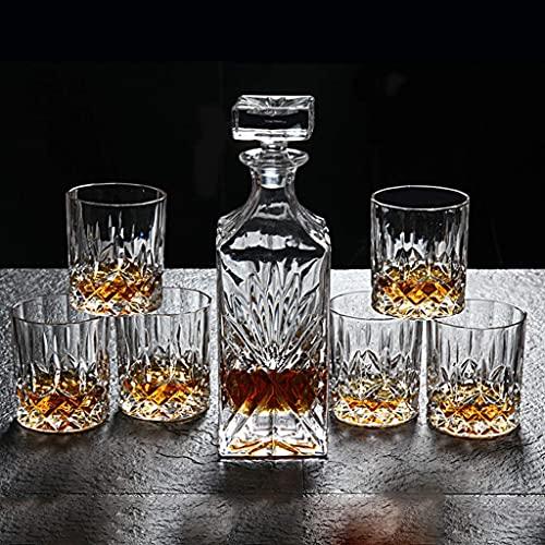 GXYtable cloth Dulce Whisky Decanter and Glasses Set, 750 ml Free Crystal Whiskey Decanter con 6 Gafas de Whisky 300ml, Decantador de la Jarra, Caja de Regalo, 7 Piezas LOLDF1
