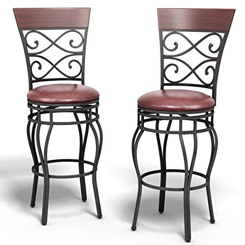 COSTWAY 2er Set Barhocker, Tresenhocker 360° drehbar, Retro-Barstühle, Bistrohocker gepolstert, Sitzhocker aus Metall, Küchenhocker, Bistro-Metallstuhl für Zuhause, Bar, Theke