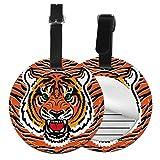 Wild Tiger - Juego de etiquetas para maleta de piel personalizada, accesorios de viaje, etiquetas redondas para equipaje Negro Negro 4 PCS